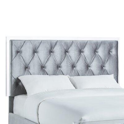 Harmen Button-Tufted Velvet Upholstered Panel Headboard Upholstery: Silver, Size: Queen