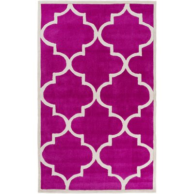 Duffield Hot Pink/Light Gray Geometric Rug Rug Size: 8 x 11
