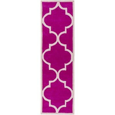 Ragusa Hot Pink/Light Gray Geometric Rug Rug Size: Runner 26 x 8