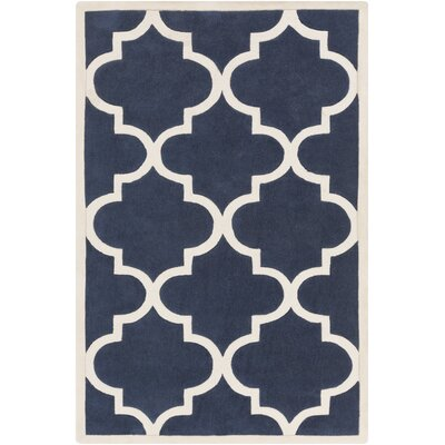 Duffield Ivory/Navy Geometric Rug Rug Size: Rectangle 36 x 56