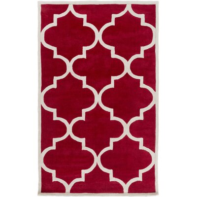 Duffield Hand-Tufted Red Area Rug Rug Size: Rectangle 8 x 11