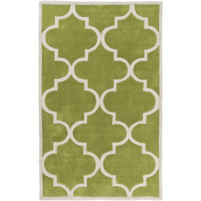 Duffield Light Gray/Lime Geometric Area Rug Rug Size: Rectangle 36 x 56