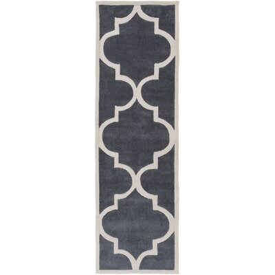 Duffield Ivory/Light Gray Geometric Area Rug Rug Size: Runner 26 x 8