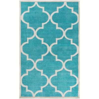 Duffield Teal Geometric Area Rug Rug Size: Rectangle 5 x 8