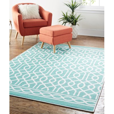 Raines Twisted Rope Aqua Area Rug Rug Size: 76 x 10