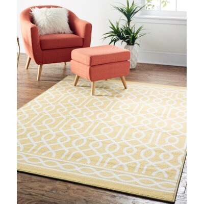 Chaunce Twisted Rope Sunset Yellow Area Rug Rug Size: 5 x 7