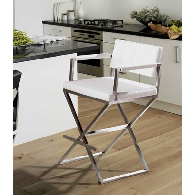 Laurenza Bar Stool Upholstery: White, Size: Counter Stool