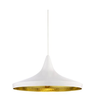 Candide Black Gold1-Light Pendant Finish: White
