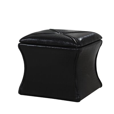 Randle Croc Leather Storage Ottoman Upholstery: Black