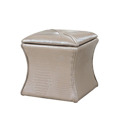 Randle Croc Leather Storage Ottoman Upholstery: Ivory