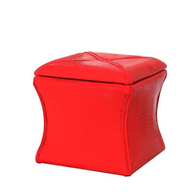 Randle Croc Leather Storage Ottoman Upholstery: Red