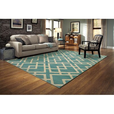 Alula Geometric Blue/Light Grey Area Rug Rug Size: Runner 110 x 76