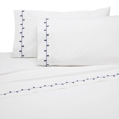 Ranson Embroidered 200 Thread Count 100% Cotton Sheet Set Size: Full/Double, Color: Navy