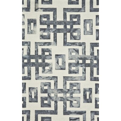 Glenaire Hand-Tufted Gray/Cream Area Rug Rug Size: 2 x 3