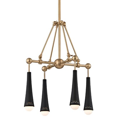 Raulston 4-Light LED Shaded Chandelier Finish: Aged Brass