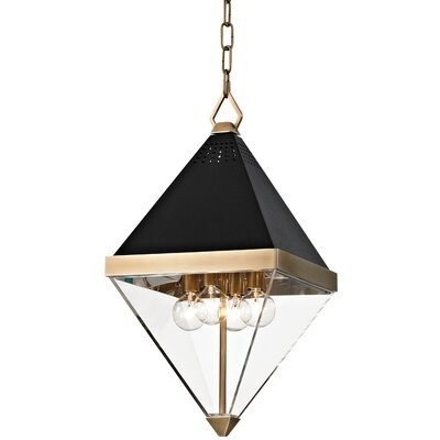 Rauscher 4-Light Geometric Pendant Finish: Aged brass/Black textured