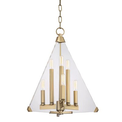 Diondre 6-Light Foyer Pendant Finish: Aged Brass