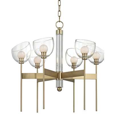 Delano 6-Light LED Shaded Chandelier Finish: Aged Brass
