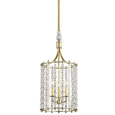 Reardon 3-Light Crystal Pendant Finish: Aged Brass