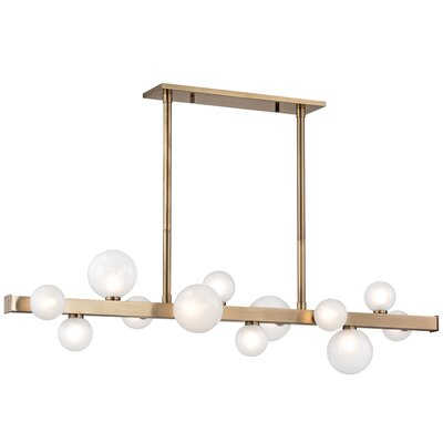 Diannah 12-Light LED Kitchen Island Pendant Finish: Aged Brass