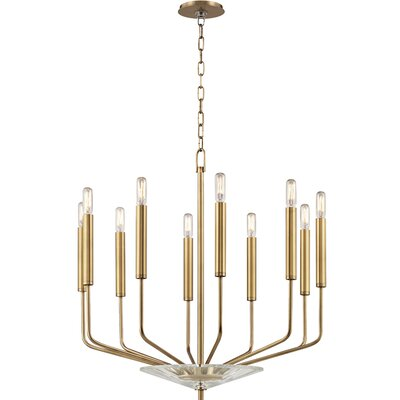 Delrick 10-Light Candle-Style Chandelier Finish: Aged Brass
