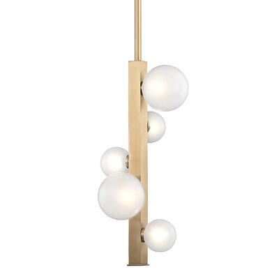 Diannah 5-Light LED Cluster Pendant Finish: Aged Brass