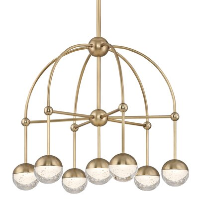 Raze 7-Light LED Shaded Chandelier Finish: Aged Brass