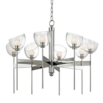 Delano 8-Light LED Shaded Candle-Style Chandelier Finish: Polished Nickel