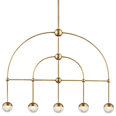 Raze 5-Light LED Kitchen Island Pendant Finish: Aged Brass