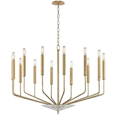 Delrick 14-Light Candle-Style Chandelier Finish: Aged Brass