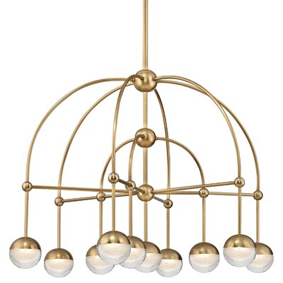 Raze 10-Light LED Shaded Chandelier Finish: Aged Brass