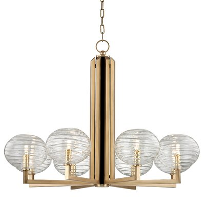 Rawley 8-Light LED Shaded Chandelier Finish: Aged Brass