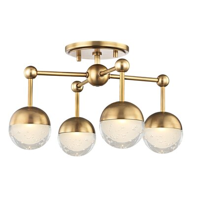 Raze 4-Light LED Semi Flush Mount Finish: Aged Brass