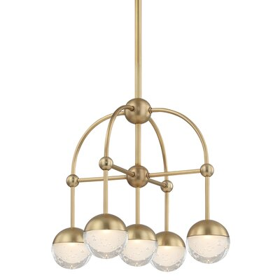 Raze 5-Light LED Shaded Chandelier Finish: Aged Brass