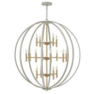Kieran 16 Light Candle-Style Chandelier Finish: Cement Gray