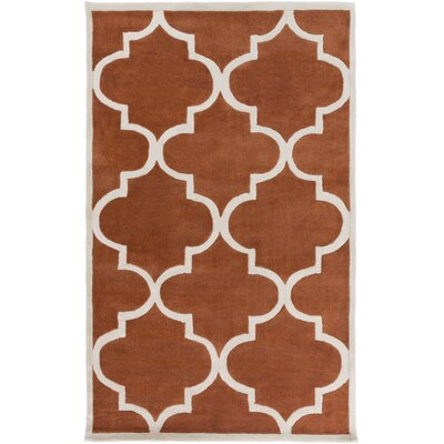 Duffield Geometric Hand-Tufted Burnt Orange/Ivory Area Rug Rug Size: Rectangle 8 x 11