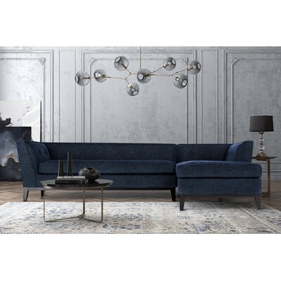 Hobart Textured Modular Sectional Upholstery: Navy, Orientation: Right Hand Facing