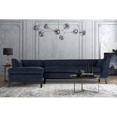 Hobart Textured Modular Sectional Upholstery: Navy, Orientation: Left Hand Facing