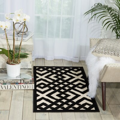 Beaconsfield Black/Ivory Area Rug Rug Size: Rectangle 22 x 39