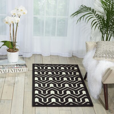 Beaconsfield Ivory/Black Area Rug Rug Size: 22 x 39