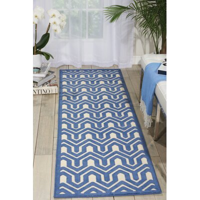 Beaconsfield Ivory/Blue Area Rug Rug Size: Runner 22 x 7