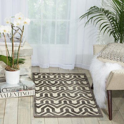 Beaconsfield Charcoal/Ivory Area Rug Rug Size: 22 x 39
