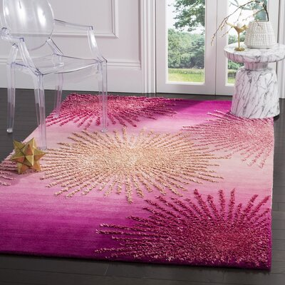 Beaufays Hand-Tufted Pink Area Rug Rug Size: 36 x 56