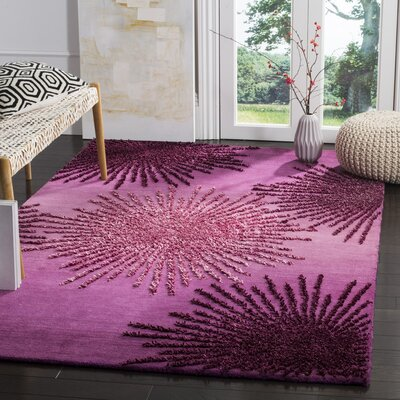 Beaufays Hand-Tufted Purple Area Rug Rug Size: 2 x 3
