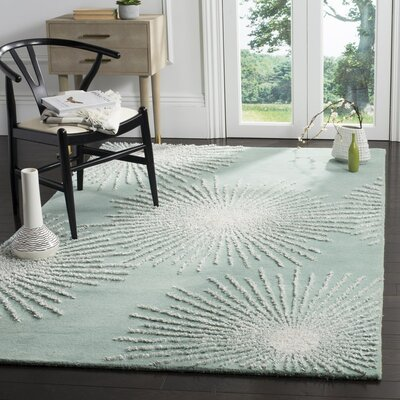 Germain Hand-Tufted Green Area Rug Rug Size: Square 6