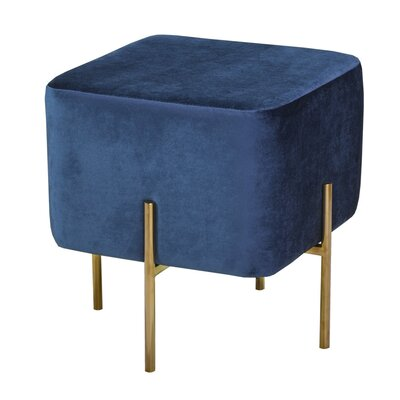 Rhymer Square Ottoman Color: Blue/Gold