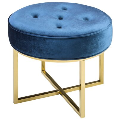 Chase Round Ottoman Color: Blue