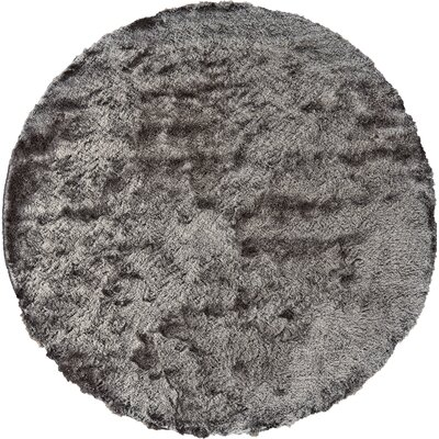 Rasalhague Hand-Tufted Gray Area Rug Rug Size: Round 8