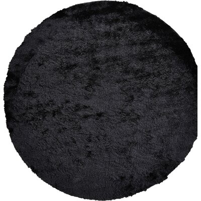 Danae Hand-Tufted Black Area Rug Rug Size: Round 8