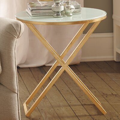 Birrell End Table Finish: Gold / White